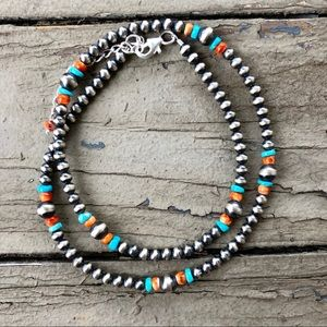 Spiny Oyster & Turquoise Southwestern Necklace